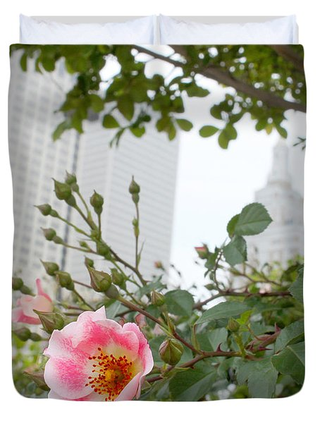 Pink Rose Of Tulsa Duvet Cover