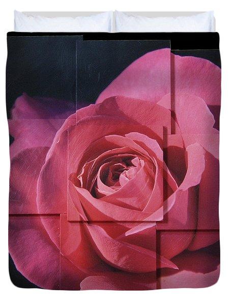 Pink Rose Photo Sculpture Duvet Cover