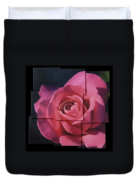 Pink Rose Photo Sculpture Duvet Cover
