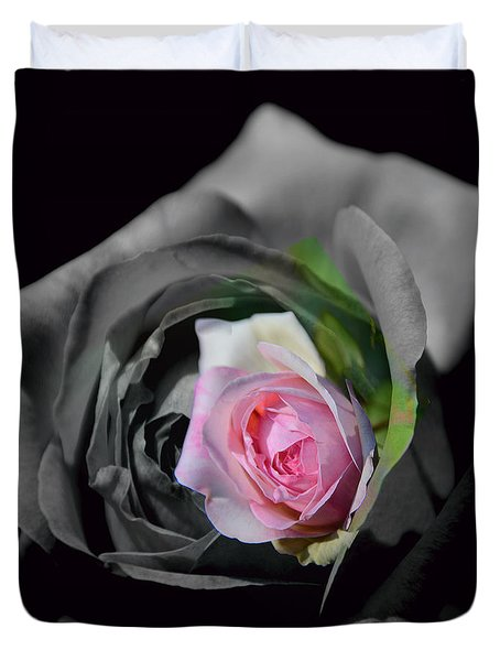 Pink Rose Shades Of Grey Duvet Cover by Elaine Hunter