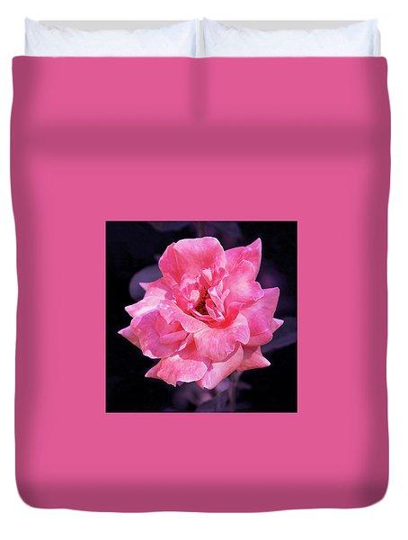 Pink Rose With Violet Duvet Cover