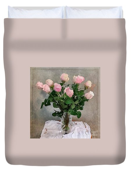 Pink Roses Duvet Cover by Alexis Rotella