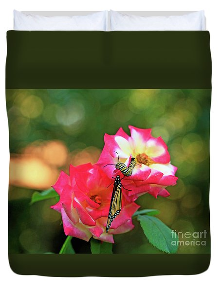 Pink Roses And Butterfly Photo Duvet Cover