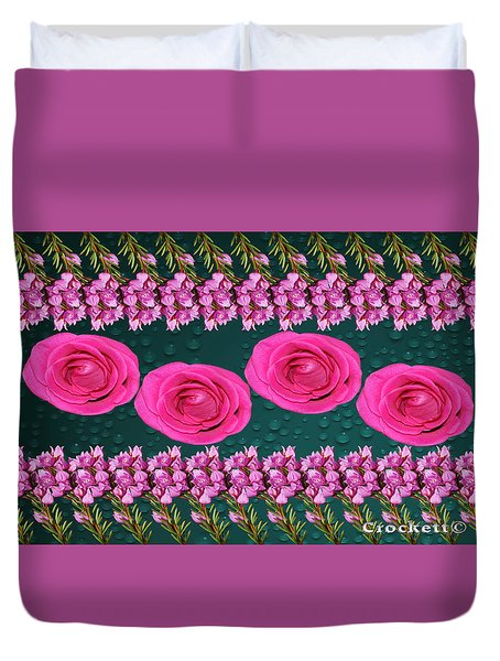 Pink Roses Floral Display Duvet Cover
