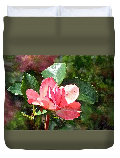 Pink Roses In The Rain 2 Duvet Cover