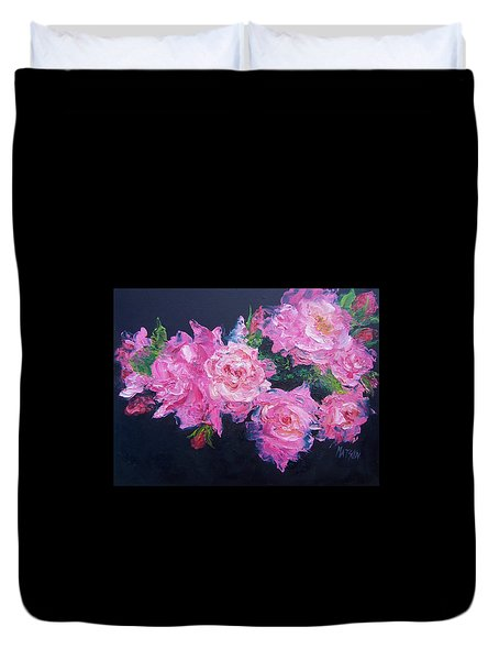 Pink Roses Oil Painting Duvet Cover