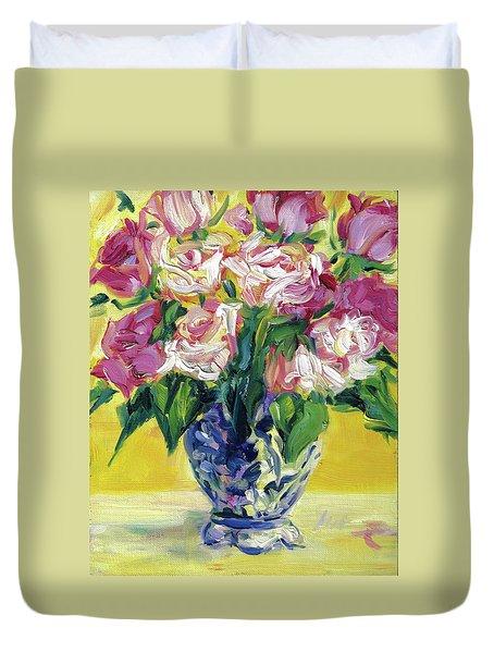 Pink Roses In Blue Deft Vase Duvet Cover
