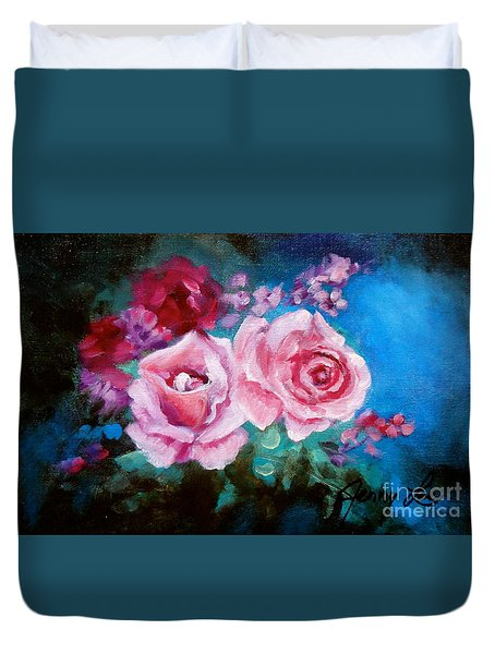 Pink Roses On Blue Duvet Cover by Jenny Lee