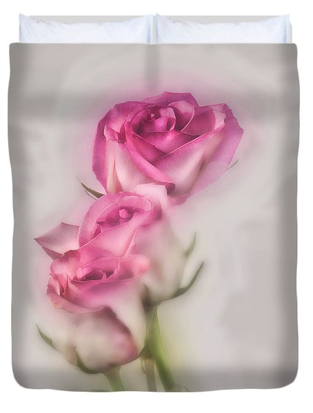 Duvet Cover featuring the photograph Pink Roses by Shirley Mangini