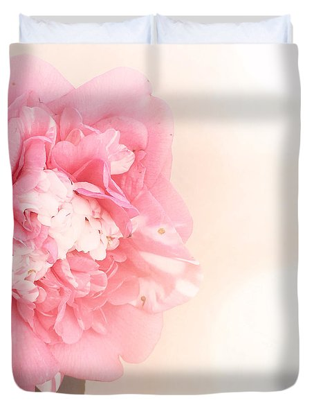Duvet Cover featuring the photograph Pink Ruffled Camellia by Cindy Garber Iverson