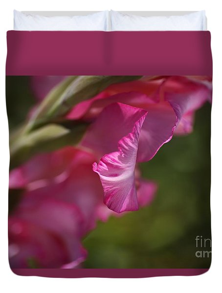 Pink Side Of Gladioli Duvet Cover