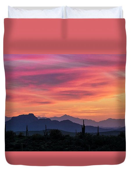 Duvet Cover featuring the photograph Pink Silhouette Sunset  by Saija Lehtonen