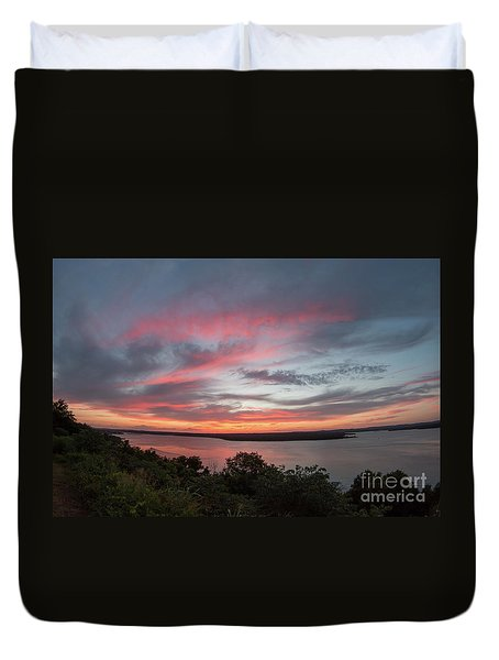 Pink Skies And Clouds At Sunset Over Lake Travis In Austin Texas Duvet Cover