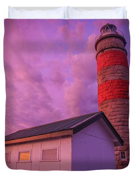 Pink Skies At Cape Moreton Lighthouse Duvet Cover