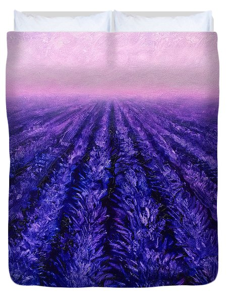 Abstract Lavender Field Landscape - Contemporary Landscape Painting - Amethyst Purple Color Block Duvet Cover