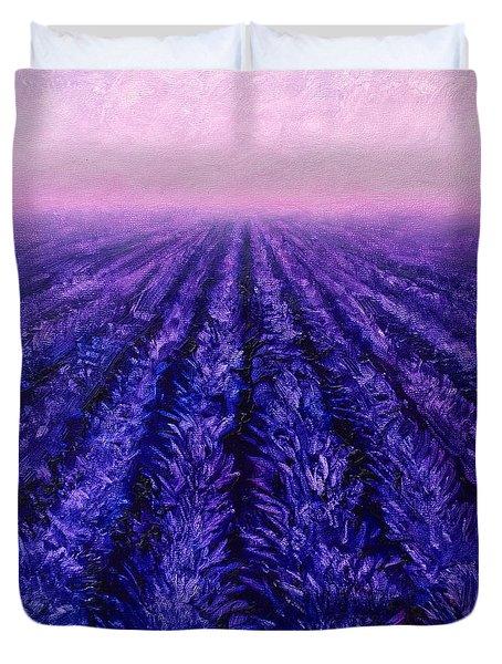 Abstract Lavender Field Landscape - Contemporary Landscape Painting - Amethyst Purple Color Block Duvet Cover