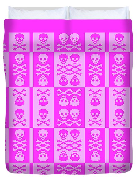Pink Skull And Crossbones Pattern Duvet Cover by Roseanne Jones
