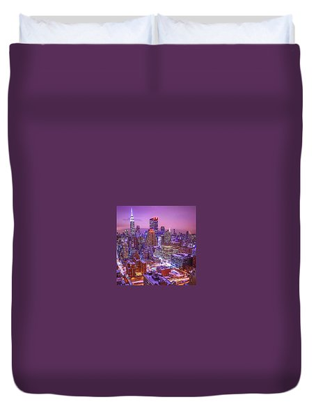 Pink Sky Above New York City Duvet Cover