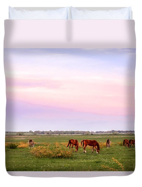Duvet Cover featuring the photograph Pink Sky Night by Melinda Ledsome