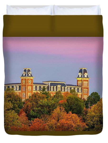 Pink Sky Over Old Main  Duvet Cover