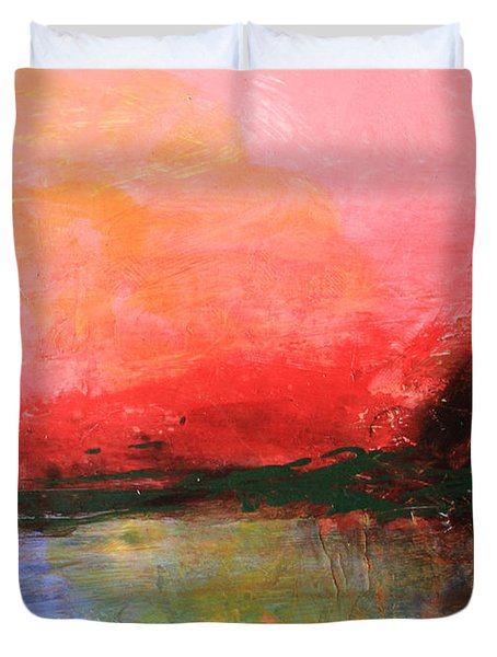 Pink Sky Over Water Abstract Duvet Cover