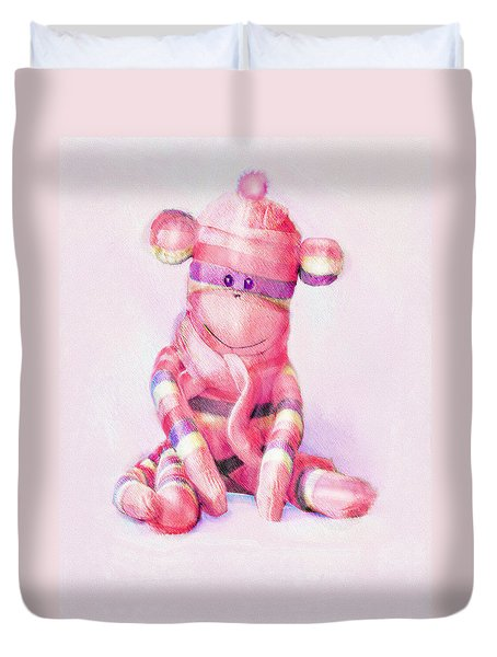 Duvet Cover featuring the digital art Pink Sock Monkey by Jane Schnetlage