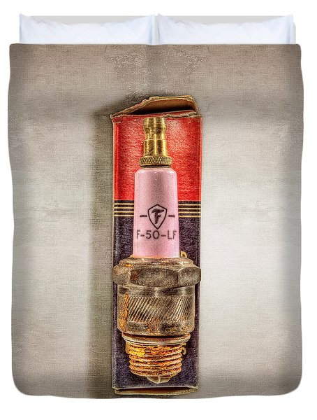 Pink Sparkplug On Box Duvet Cover