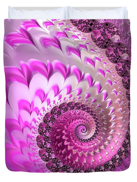 Pink Spiral With Lovely Hearts Duvet Cover