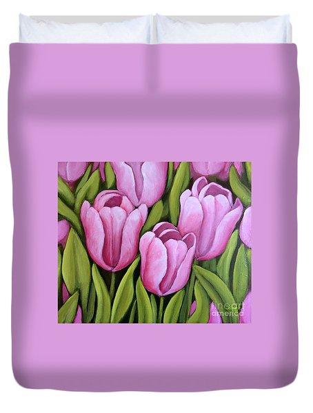 Pink Spring Tulips Duvet Cover