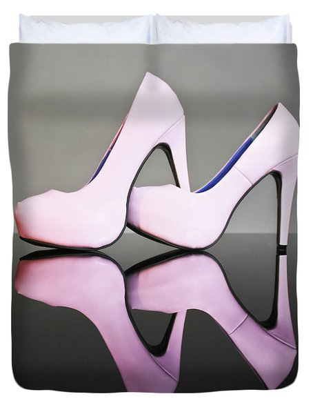 Duvet Cover featuring the photograph Pink Stiletto Shoes by Terri Waters