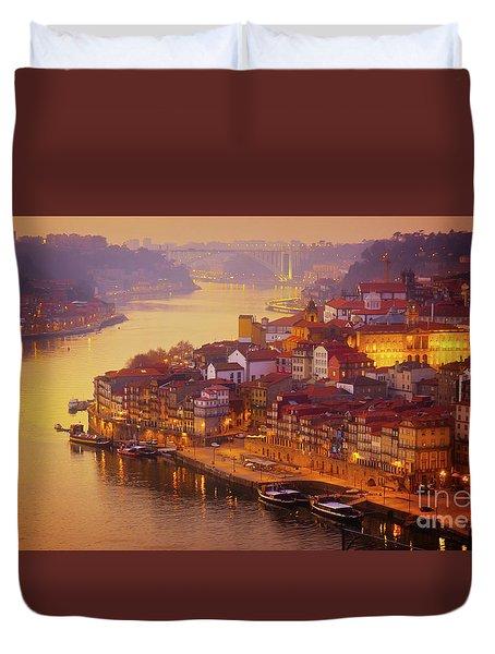 Pink Sunset In Porto Duvet Cover