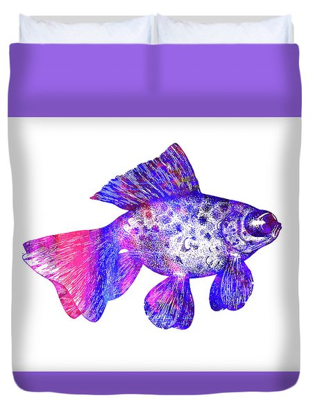 Pink Tail Fish Duvet Cover by Nancy Merkle