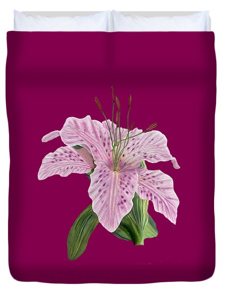 Pink Tiger Lily Blossom Duvet Cover by Walter Colvin