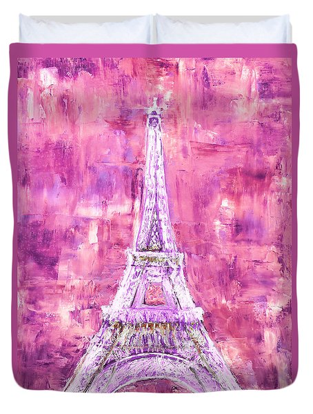 Pink Tower Duvet Cover by Elizabeth Lock