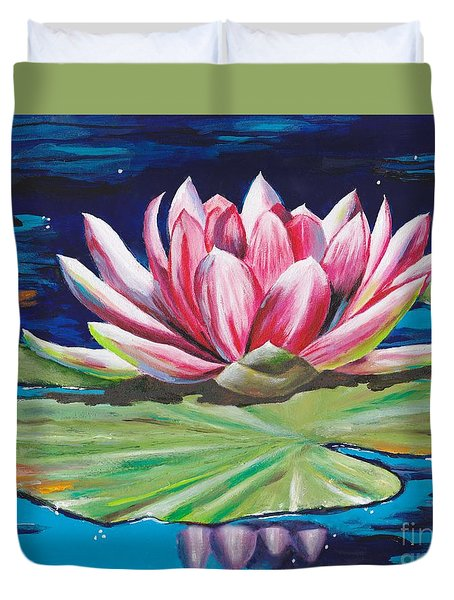 Duvet Cover featuring the painting Pink Tranquility by Mary Scott