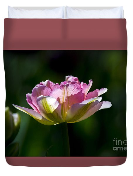 Duvet Cover featuring the photograph Pink Tulip by Angela DeFrias