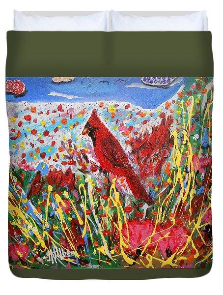Cardinal's Pink Tulip Flower Garden Duvet Cover
