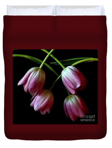 Duvet Cover featuring the photograph Pink Tulip Weave by Shirley Mangini