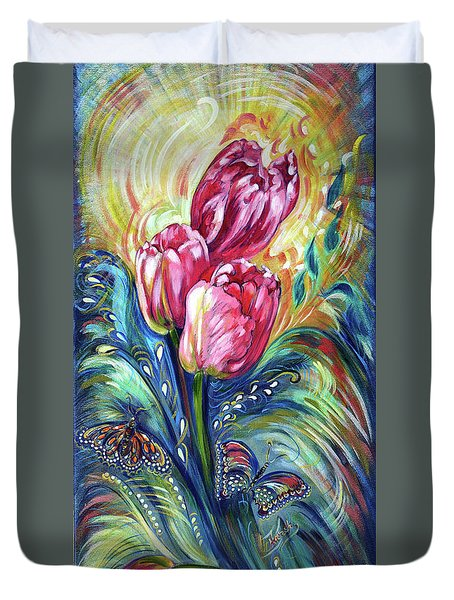 Pink Tulips And Butterflies Duvet Cover