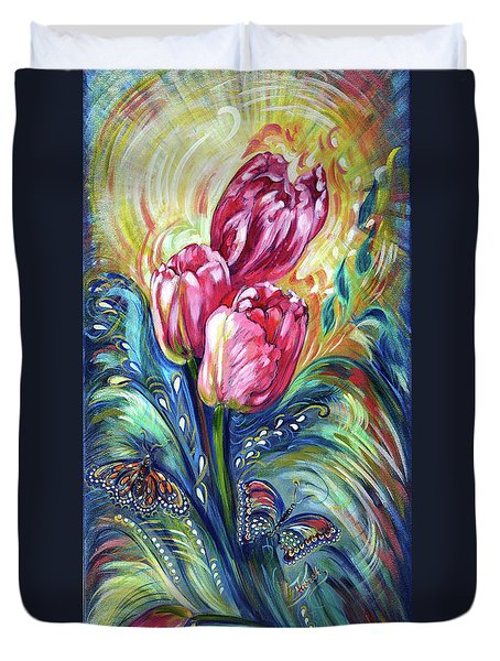 Pink Tulips And Butterflies Duvet Cover by Harsh Malik