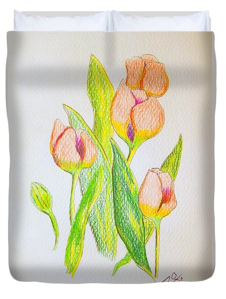 Duvet Cover featuring the drawing Pink Tulips by J R Seymour