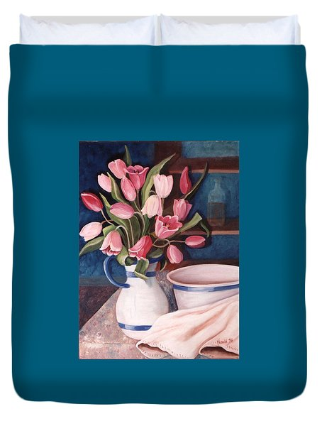 Duvet Cover featuring the painting Pink Tulips by Renate Nadi Wesley