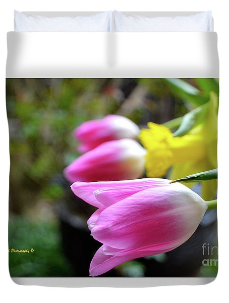 Pink Tulips Row Duvet Cover