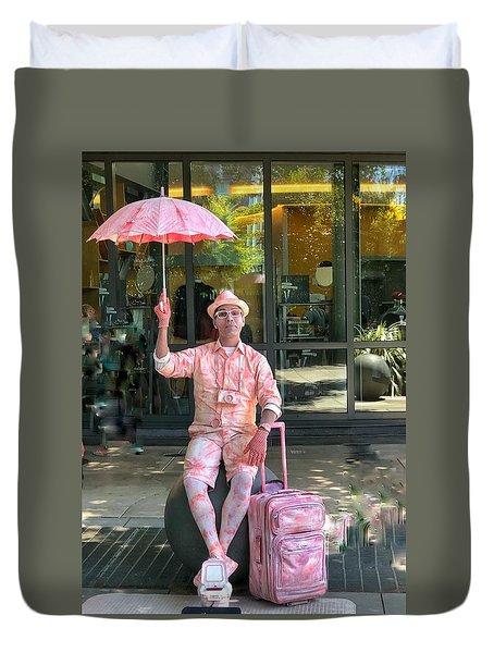 Pink Umbrella Man Duvet Cover