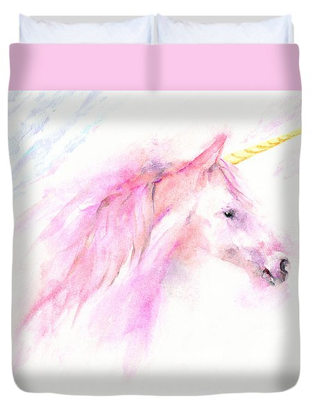 Pink Unicorn Duvet Cover by Elizabeth Lock