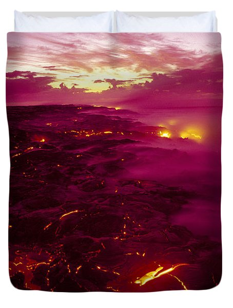 Pink Volcano Sunrise Duvet Cover by Ron Dahlquist - Printscapes