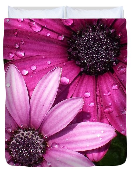 Pink Water Drop Flowers Duvet Cover