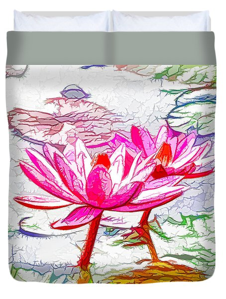 Pink Water Lily Flowers Blooming On Pond Duvet Cover by Lanjee Chee
