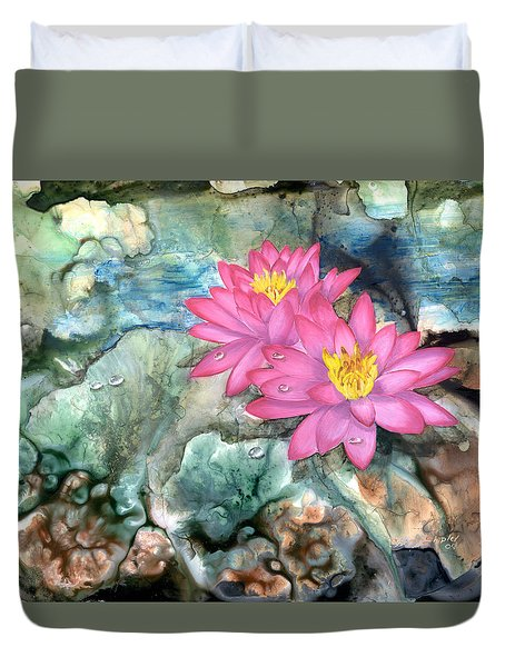 Duvet Cover featuring the painting Pink Waterlily by Sherry Shipley
