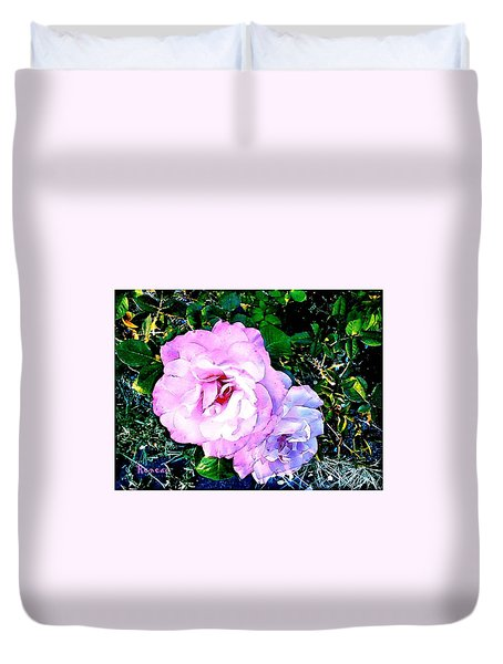 Duvet Cover featuring the photograph Pink - White Roses  2 by Sadie Reneau